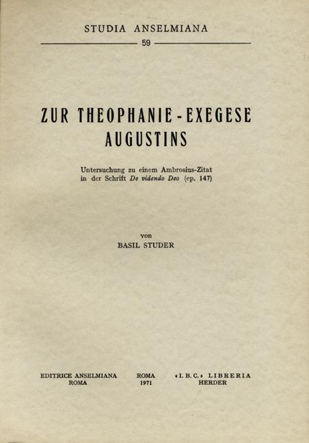 Zur Theophanie-Exegese Augustins