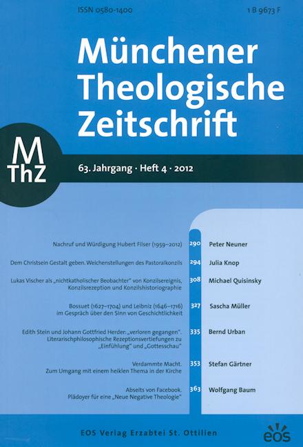 Münchener Theologische Zeitschrift 63 (2012/4)