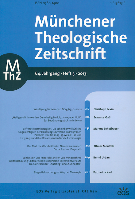 Münchener Theologische Zeitschrift 64 (2013/3)