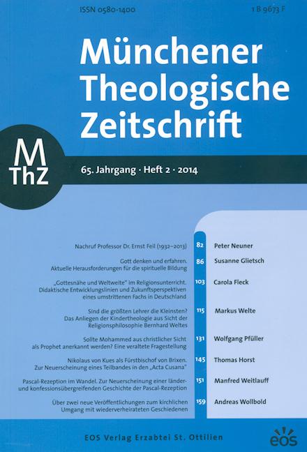 Münchener Theologische Zeitschrift 65 (2014/2)
