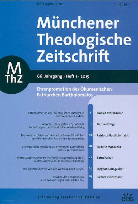 Münchener Theologische Zeitschrift 66 (2015/1)