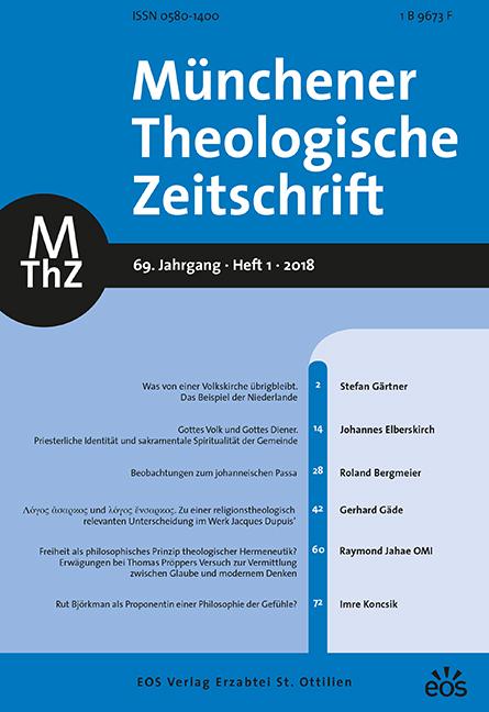 Münchener Theologische Zeitschrift 69 (2018/1)