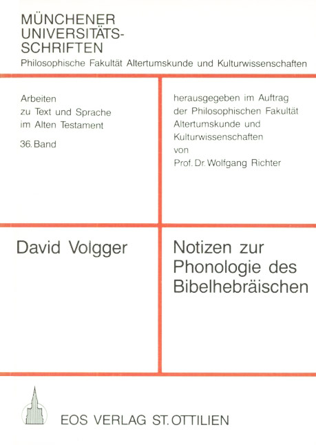 Notizen zur Phonologie des Bibelhebräischen