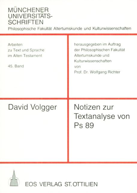 Notizen zur Textanalyse von Ps 89