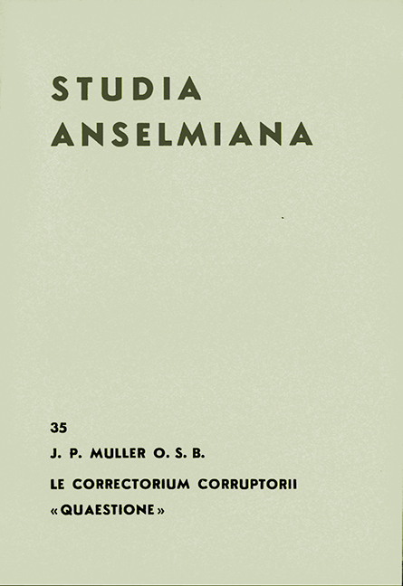 Le Correctorium corruptorii «Quaestione». Texte anonyme du ms. Merton 267