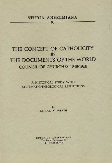 The Concept of Catholicity in the Documents of the World Council of Churches 1948–1968