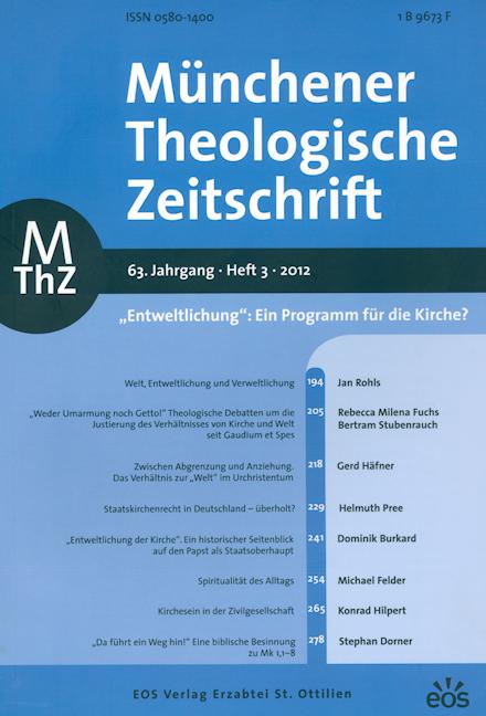 Münchener Theologische Zeitschrift 63 (2012/3)