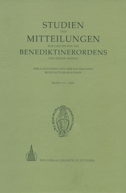 Studien und Mitteilungen zur Geschichte des Benediktinerordens 111 (2000)