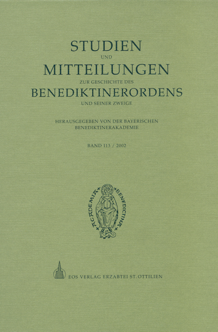 Studien und Mitteilungen zur Geschichte des Benediktinerordens 113 (2002)
