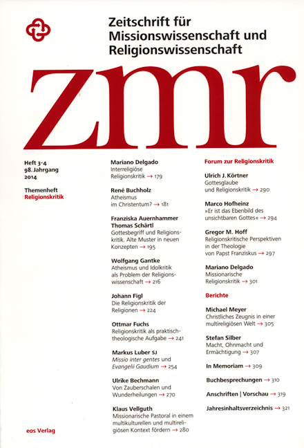 Zeitschrift für Missionswissenschaft und Religionswissenschaft 98 (2014/3-4)